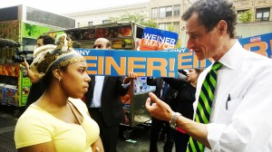 Anthony Wiener spoke to voters on 125th Street during the Democratic Primary. Credit: Alex Ellefson