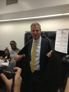 Bill de Blasio emerges from a voting booth in Park Slope after casting his ballot in the Democratic Primary on Tuesday. Credit: David Beltran