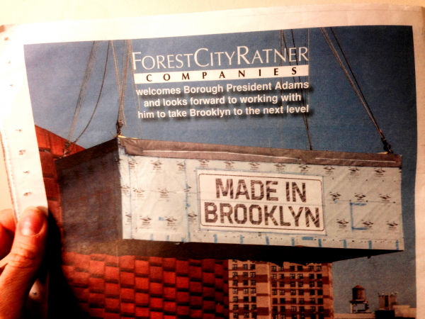 """Advertising from this developer on the back of """"One Brooklyn,"""" published by the Office of the Brooklyn Borough President."""